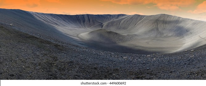 Hverfjall crater in Myvatn area, northern Iceland, panoramic view
