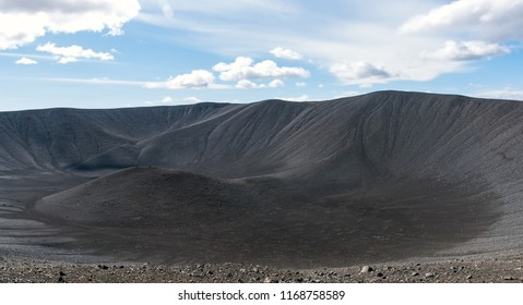 Hverfjall volcanic crater in Iceland. It is an icon of the Lake Myvatn area, the result of a volcanic eruption, a bare bump in the landscape.