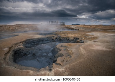 Hverir geothermal area in the north of Iceland near Lake Myvatn