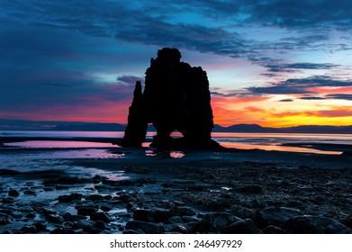 Hvitserkur. A 15 m. high basalt stack along the eastern shore of the Vatnsnes peninsula, in the northwest of Iceland.