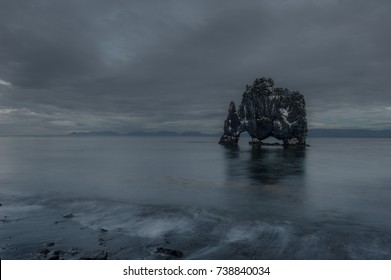 Hvitserkur. A fifteen m. high basalt stack along the eastern shore of the Vatnsnes peninsula, in the northwest of Iceland.