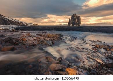 hvitserkur rock in iceland during sunset