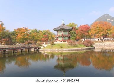 Hwangwonjeong Pavilion. Hwangwonjeong Pavilion was built in 1873 on an artificial island in Hyangwon Lake