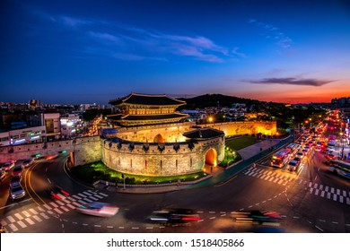 Hwaseong Fortress at night suwon, south Korea