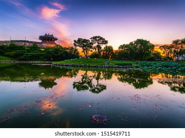 Hwaseong Fortress at sunset in suwon, south Korea