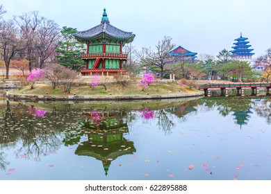 Hyangwon-jeong pavilion, The Pavilion of Far-Reaching Fragrance is a small pagoda on an artificial island in the center of a small lake in the Gyeongbokgung Palace complex in Seoul, Seoul, South Korea