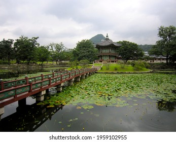 Hyangwonjeong Pavilion at Gyeongbokgung or Gyeongbok Palace, which was the main royal palace of the Joseon dynasty, located in northern Seoul, South Korea, Asia