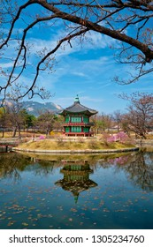 Hyangwonjeong Pavilion in Gyeongbokgung Palace, Seoul, South Korea