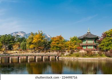 Hyangwonjeong Pavilion at Gyeongbokgung Palace in Seoul, South Korea.