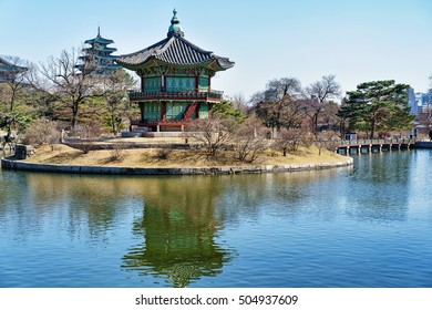 Hyangwonjeong Pavilion on the artificial island in the lake of Gyeongbokgung Palace in Seoul, South Korea