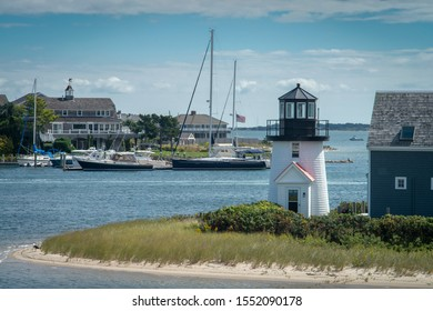 Hyannis harbor lighthouse in mid summer