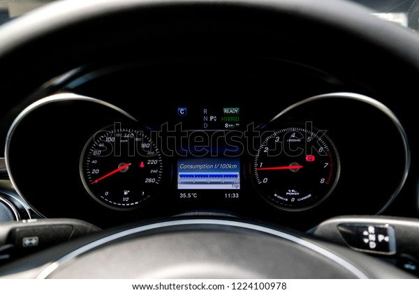 Hybrid Car Dashboard Show Consumption Scale Stock Photo (Edit Now