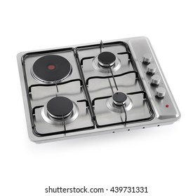 Hybrid gas-electric hob on white background.