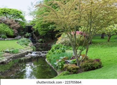 Hyde Park, London, Little Waterfall near Serpentine Lake