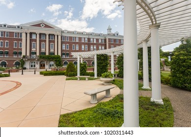 HYDE PARK, NY, USA - JUNE 12, 2016: The Culinary Institute of America. A not-for-profit college for culinary education. Roth Hall and Anton Plaza, the centerpiece of the CIA New York campus.