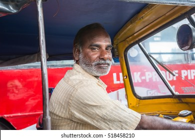 Hyderabad, Andhra, India- November 18, 2016: Editorial:   Portrait of Indian Tuktuk driver at the street of Hyderabad, India
