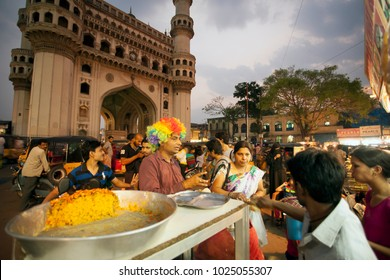 Hyderabad, Andhra Pradesh, India - April 07, 2013: People selling fruits, fruit juices and other thing in Charminar, Hyderabad.
