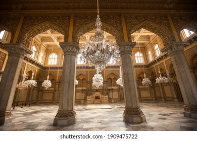 Hyderabad, Andhra Pradesh, India - December 28, 2011: Durbar Hall at Chowmahalla Palace or Chowmahallatuu, is a palace of the Nizams of Hyderabad state, Hyderabad, Andhra Pradesh, India.
