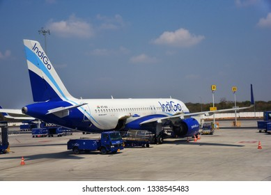 HYDERABAD, ANDHRA PRADESH, INDIA, MARCH 02, 2019:  IndiGo Airbus A320 Neo aeroplane on the tarmac of Rajiv Gandhi International Airport on a bright day.