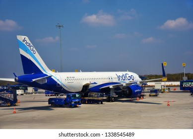 HYDERABAD, ANDHRA PRADESH, INDIA, MARCH 02, 2019:  IndiGo Airbus A320 Neo aeroplanes on the tarmac on a bright day. View from th erear end shows the tail cone (Auxiliary Power Unit, APU).