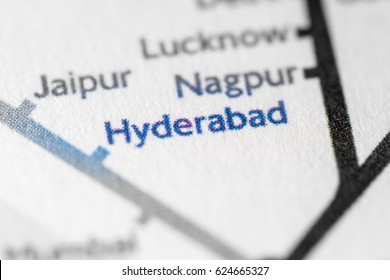 Hyderabad, Asia on a geographical map.