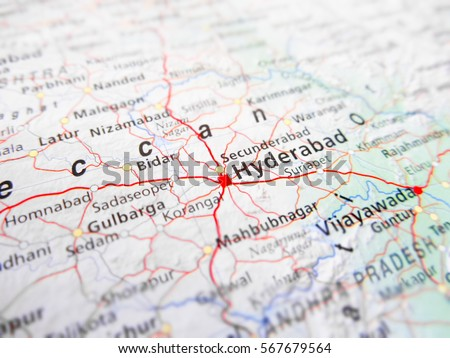 Hyderabad City Over Road Map India Stock Photo Edit Now 567679564