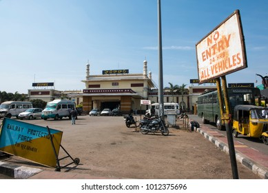 Hyderabad / India 26 December2017 The Hyderabad Deccan railway station popularly known as Nampally railway station at Hyderabad Telangana  India
