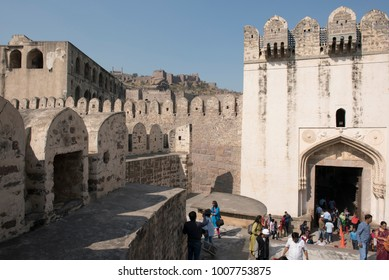 Hyderabad / India 26 December2017 Main Entrance of Golkonda or Golconda fort in Southern India and was the capital of the medieval sultanate of the Qutb Shahi dynasty  at Hyderabad Telangana India