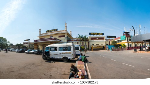 Hyderabad / India 26 December2017  Panoramic view of The Hyderabad   railway station or Nampally railway station at Nampally in Hyderabad Telangana India