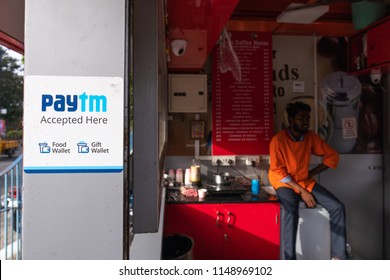 HYDERABAD, INDIA - August 01,2018 Paytm is India's largest leading payment gateway that offers comprehensive payment services for customer and merchants