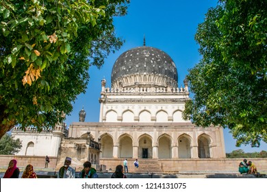 Hyderabad / India - Dec 2017: The ancient tomb of Qutb Shahi. The Kings are resting in the tombs located near the Golconda fort. Best destination in IncredibIe India.