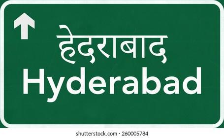 Hyderabad India Highway Road Sign