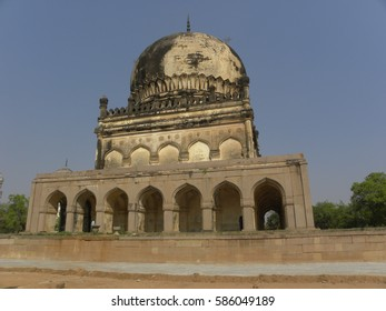 Hyderabad, India - Jan 1, 2009 Ancient huge structures of Qutb Shahi Tombs