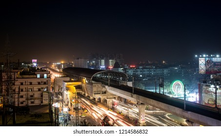 Hyderabad / India - January 11 2016: Night shot of a metro station in downtown Hyderabad