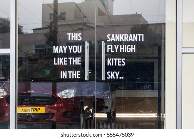 HYDERABAD, INDIA - JANUARY 14,2017 Sankranthi Wishes written on a glass door of a corporate company