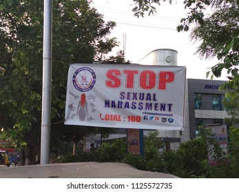 HYDERABAD, INDIA - Jul 02,2018 A banner with the words STOP Sexual Harrasment displayed at a bus station in Hyderabad,India