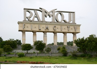 HYDERABAD, INDIA - JULY 2, 2017: Entrance sign of Ramoji Film City at Hayathnagar. At 1666 acres, it is the largest integrated film city in the world.