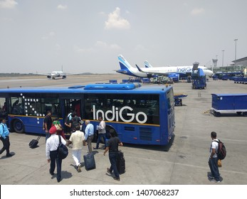 HYDERABAD, INDIA - MAY 14,2019 IndiGo airline  which is a low cost and largest airline in India at Rajiv Gandhi International Airport