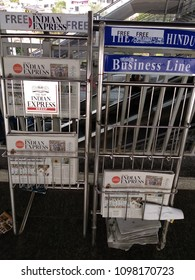 HYDERABAD, INDIA - MAY 24,2018 Free newspapers on a stand for passengers at Ameerpet Metro Rail station in Hyderabad,India