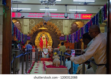 HYDERABAD, INDIA - SEPTEMBER 03, 2018 : SAI BABA TEMPLE