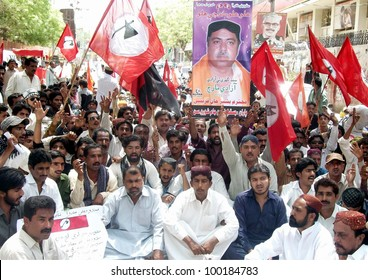 HYDERABAD, PAKISTAN - APR 16: Supporters of Jeay Sindh Qumi Mahaz (JSQM) are protesting in favor of their demands during demonstration on April 16, 2012 in Hyderabad.