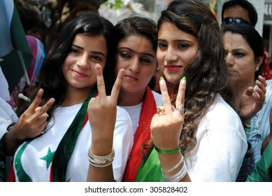 HYDERABAD, PAKISTAN - AUG 13: Supporters of (PTI) are holding independence rally on the occasion of Pakistan Independence Day coming ahead on August 14, on August 13, 2015 in Hyderabad.