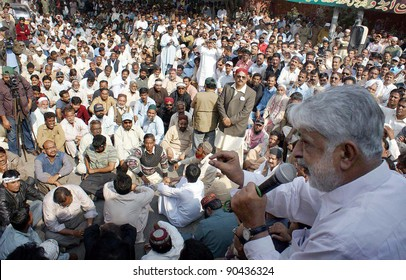 HYDERABAD, PAKISTAN -DEC 08: WAPDA Hydro Electric Central Labor Union leader, Abdul Latif Nizamani addresses to protest rally against IMF and privatization of power companies on December 08, 2011.