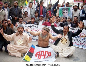 HYDERABAD, PAKISTAN - DEC 21: Members of All Pakistan Clerks Association (APCA) protest in favor of their demands during demonstration on December 21, 2011in Hyderabad.