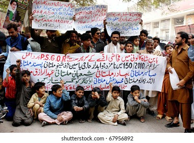 HYDERABAD, PAKISTAN - DEC 28: Residents of Baban Shah colony are protesting in favor of their demands during a demonstration at Hyderabad press club on December 28, 2010 in Hyderabad.