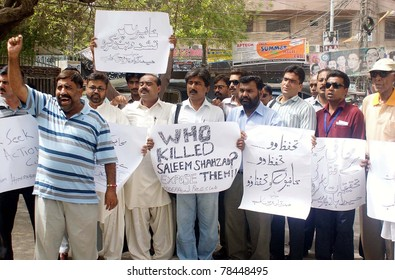 HYDERABAD, PAKISTAN - JUN 01: Journalists are protesting against killing of Saleem Shehzad during a demonstration at press club on June 01, 2011 in Hyderabad, Pakistan