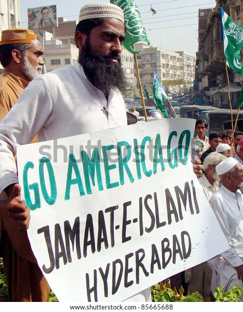 HYDERABAD - PAKISTAN - SEPT 29: Activists of Jamat-e-Islami (JI) are protesting against US Government during demonstration on September 29, 2011in Hyderabad.