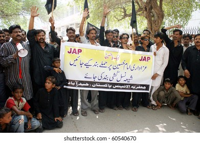 HYDERABAD, PAKISTAN-SEPT 02: Supporters of Jaffaria Alliance are protesting in favor of their demands during a demonstration outside Hyderabad press club Sept 2, 2010 in Hyderabad