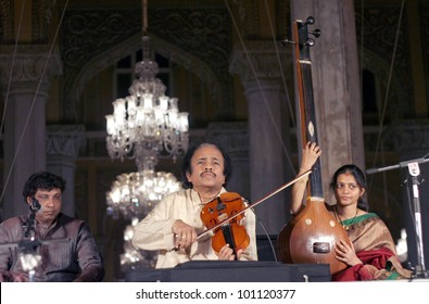 HYDERABAD,AP,INDIA-APRIL 20:Dr. L. Subramaniam performing during Heritage week celebrations at Chowmahalla Palace,built in1880 on April 20,2012 in Hyderabad,Ap,India. Well known violinist in India.