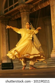 HYDERABAD,AP,INDIA-APRIL 23: Kathak dancer  Mangala Bhatt performs during heriitage week celebrations at chowmohalla palace on April 23,2012 in Hyderabad,Ap,India.Associcate of Pt. Birju Maharaj ji.